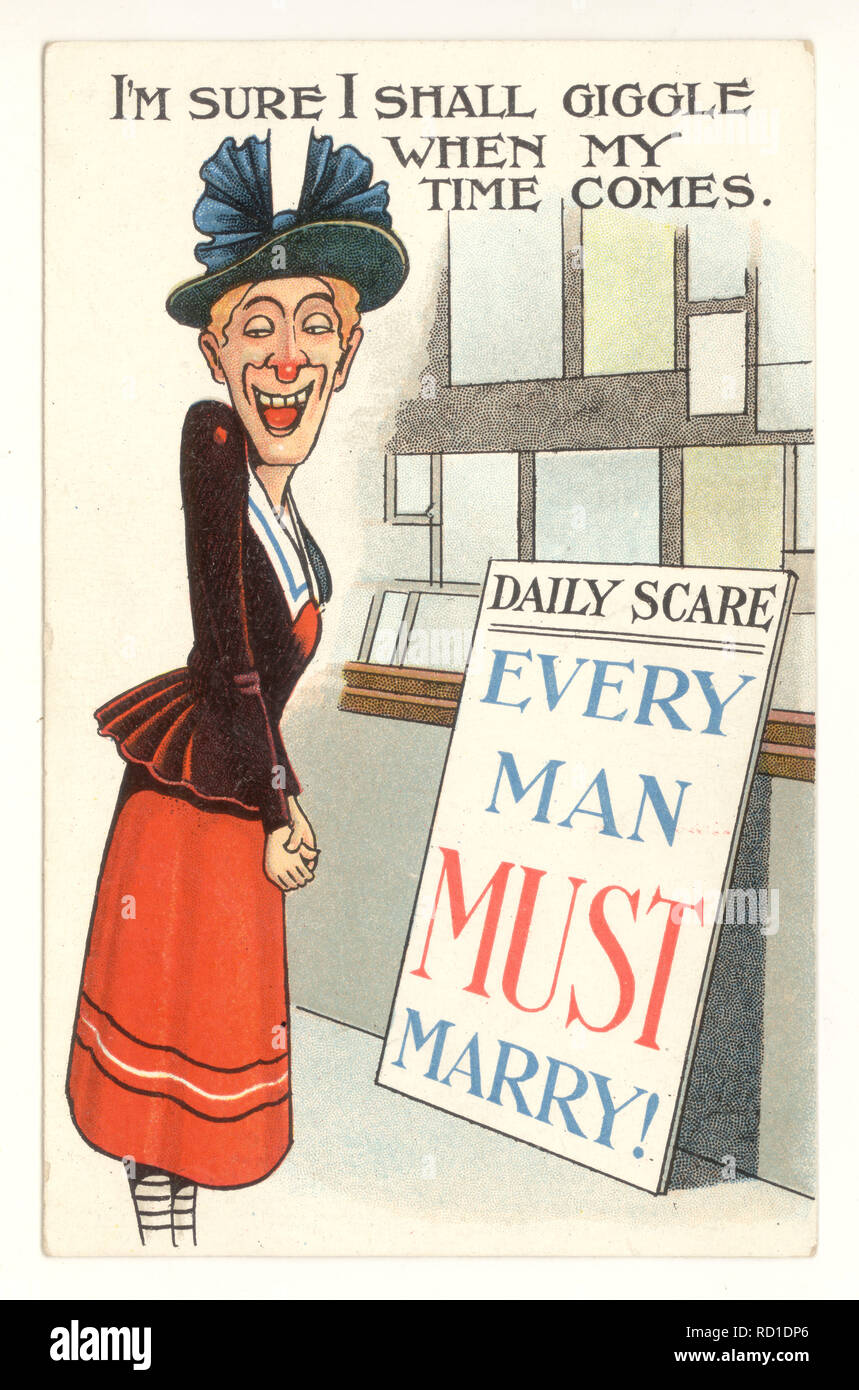 Anti-suffragette comic postcard of simpering old maid, 'Every Man Must Marry' poster, illustrates the fears of the masculinisation of women during women's fight for suffrage, circa 1915, U.K. - Stock Image
