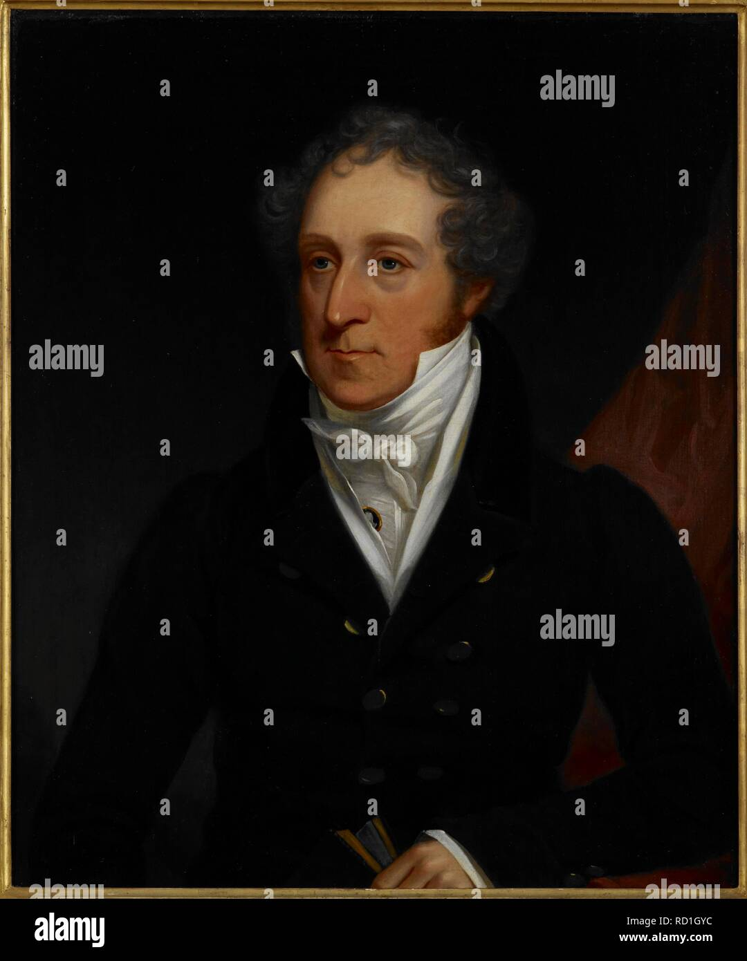 Half length portrait of John Fombelle (1763-1849), c.1820, standing holding a book in his left hand. He was in India as a Writer in 1783, Sub-secretary in the Secret Department 1789-93, and Judge and Magistrate at Bhagalpur 1793-1802. From 1805-17 he was a Puisne Judge of the Sudder Dewanny and Nizamut Adaulat in Calcutta. c. 1820. Source: Foster 848. Author: ANON. - Stock Image