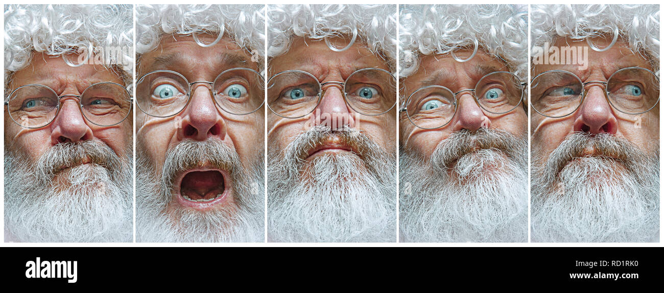 Christmas Facial.The Different Human Emotions Or Emotional Face Of Santa Clause In