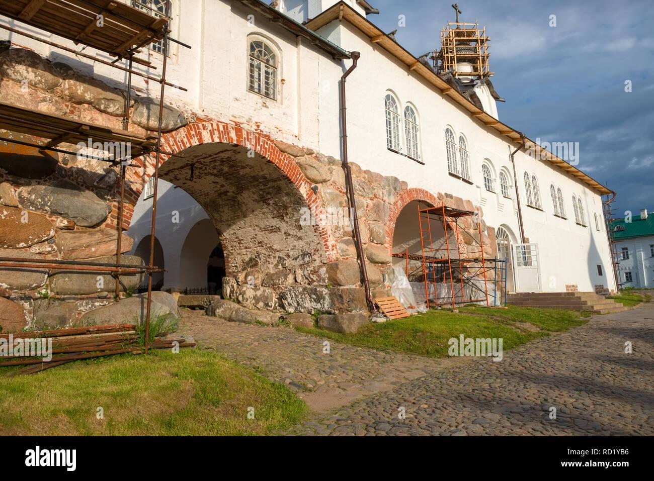 In the Spaso-Preobrazhensky Solovetsky Monastery. Russia, Arkhangelsk region, Primorsky district, Solovki Stock Photo