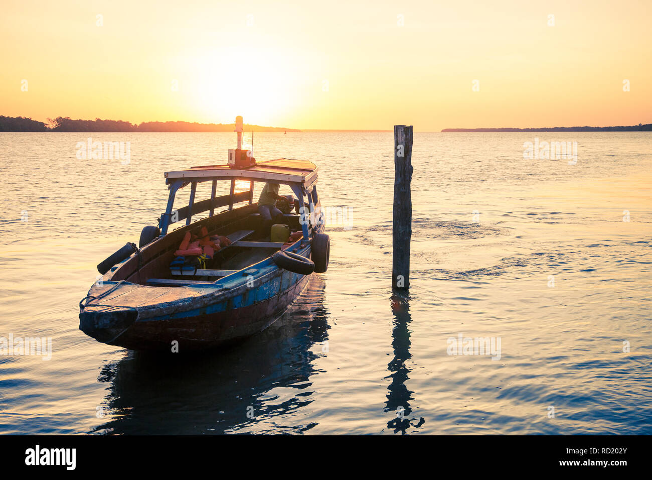Colorful traditional boats on the Suriname river, Suriname - Stock Image