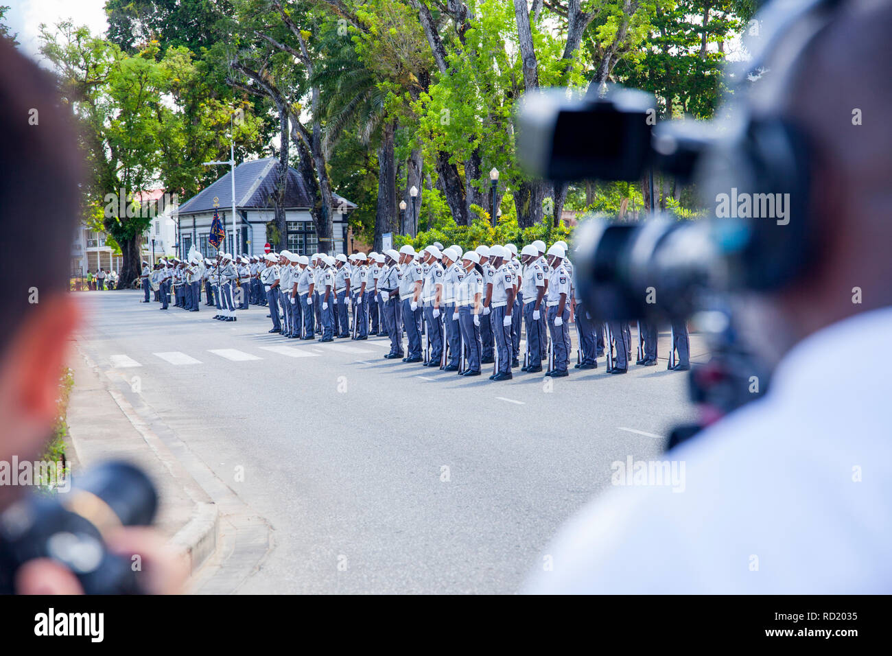 PARAMARIBO, SURINAME - OCTOBER 1, 2018: Press and honor guard awaiting president Bouterse to preside a national ceremony - Stock Image