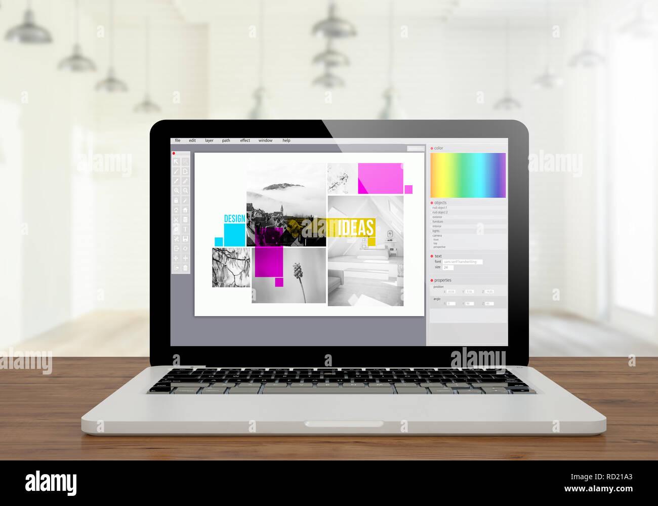3d Rendering Of Graphic Design Software Screen Laptop On Desktop Stock Photo Alamy