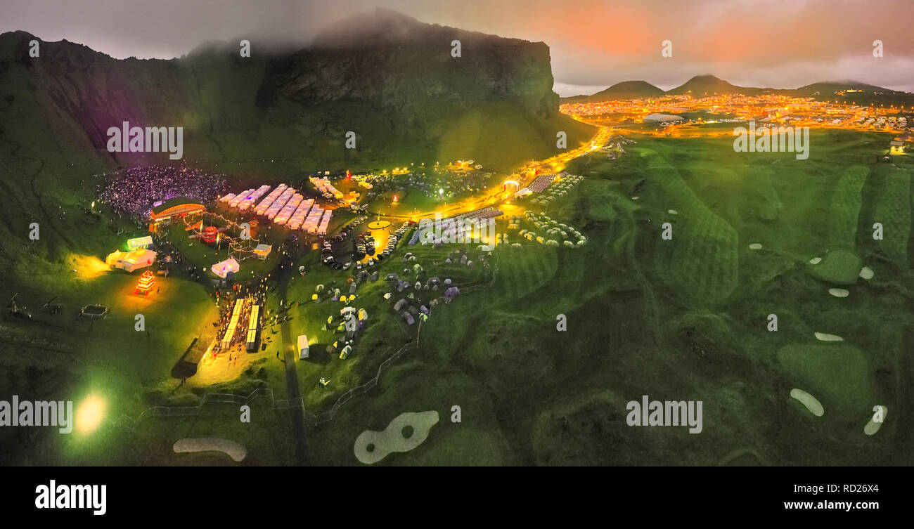 Thjodhatid Festival, Heimaey, Westman Islands, Iceland. National annual festival with bond fires, fireworks, music and stage performances. - Stock Image