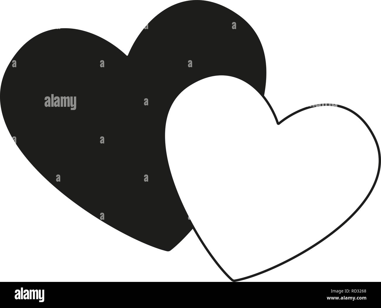 Black and white pair of loving hearts - Stock Vector