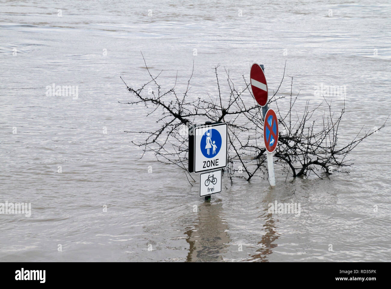 Extreme weather: Flooded pedestrian zone in Cologne, Germany Stock Photo