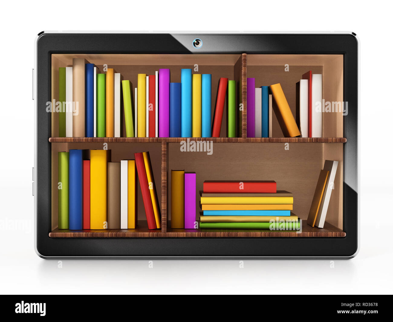 Books inside generic tablet PC. 3D illustration. - Stock Image