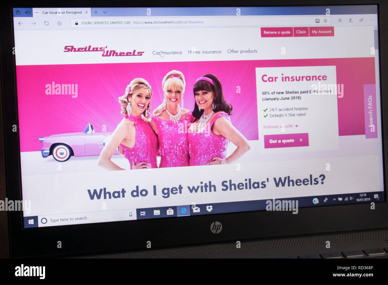 Sheila's Wheels insurance company advert on laptop computer - screenshot of website - Stock Image