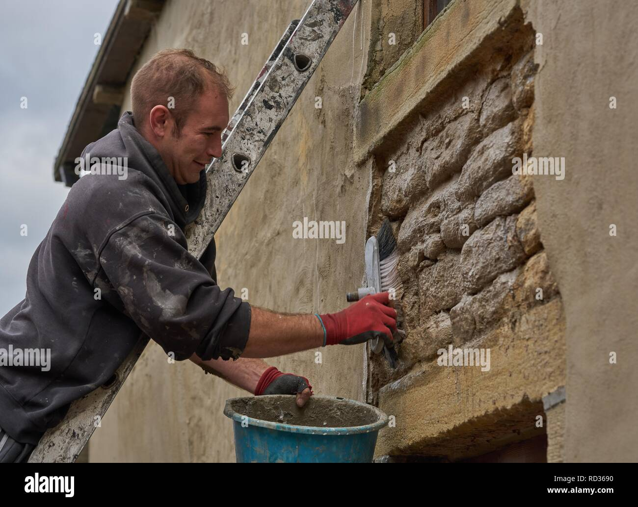 Man on ladder working, carrying out building repair and property restoration work on structural wall - Stock Image