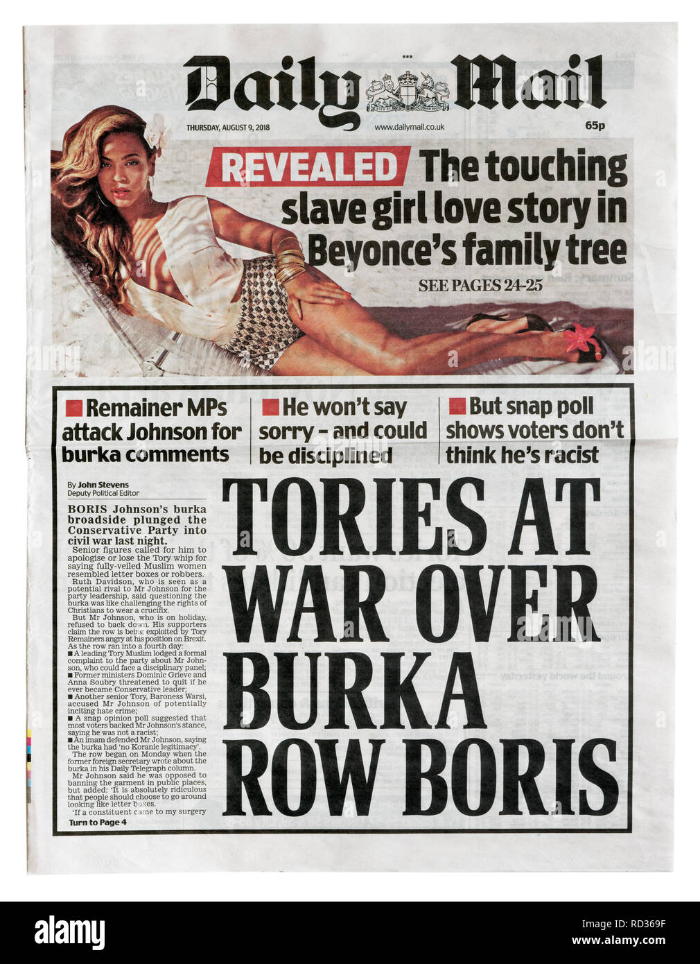 The front page of the Daily Mail from August 9 2018 with the story of Tory frustration over Boris Johnson's burka remarks - Stock Image