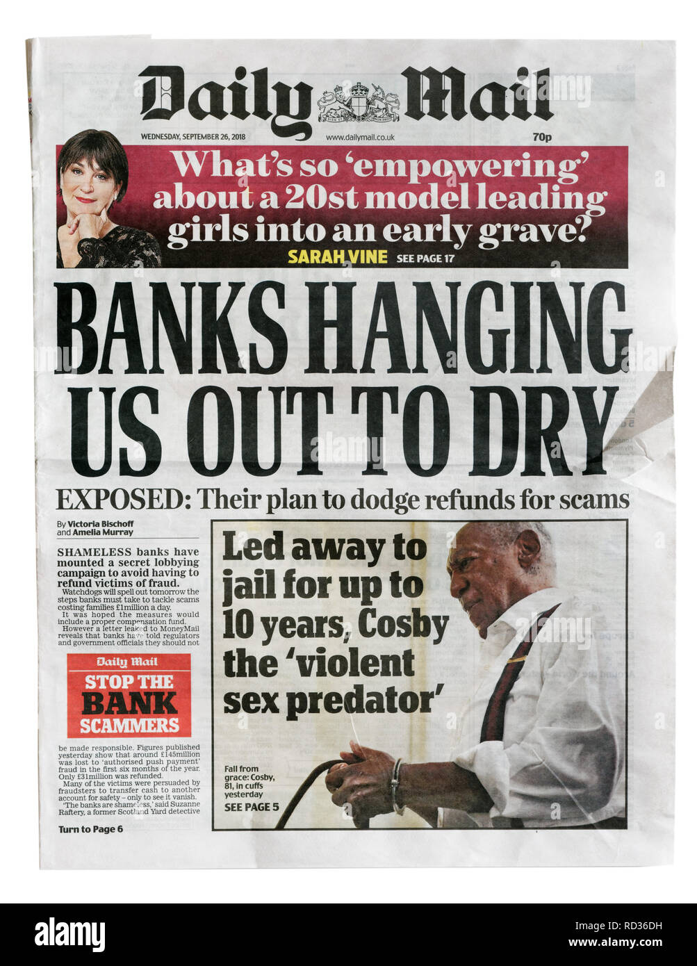 The front page of the Daily Mail from September 26 2018 with the story that banks trying to avoid refunding scam victims - Stock Image
