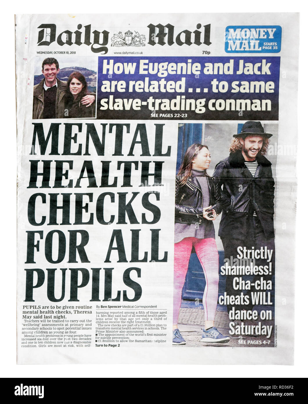 The front page of the Daily Mail from October 10 2018 with the headline Mental Health Checks For All Pupils - Stock Image