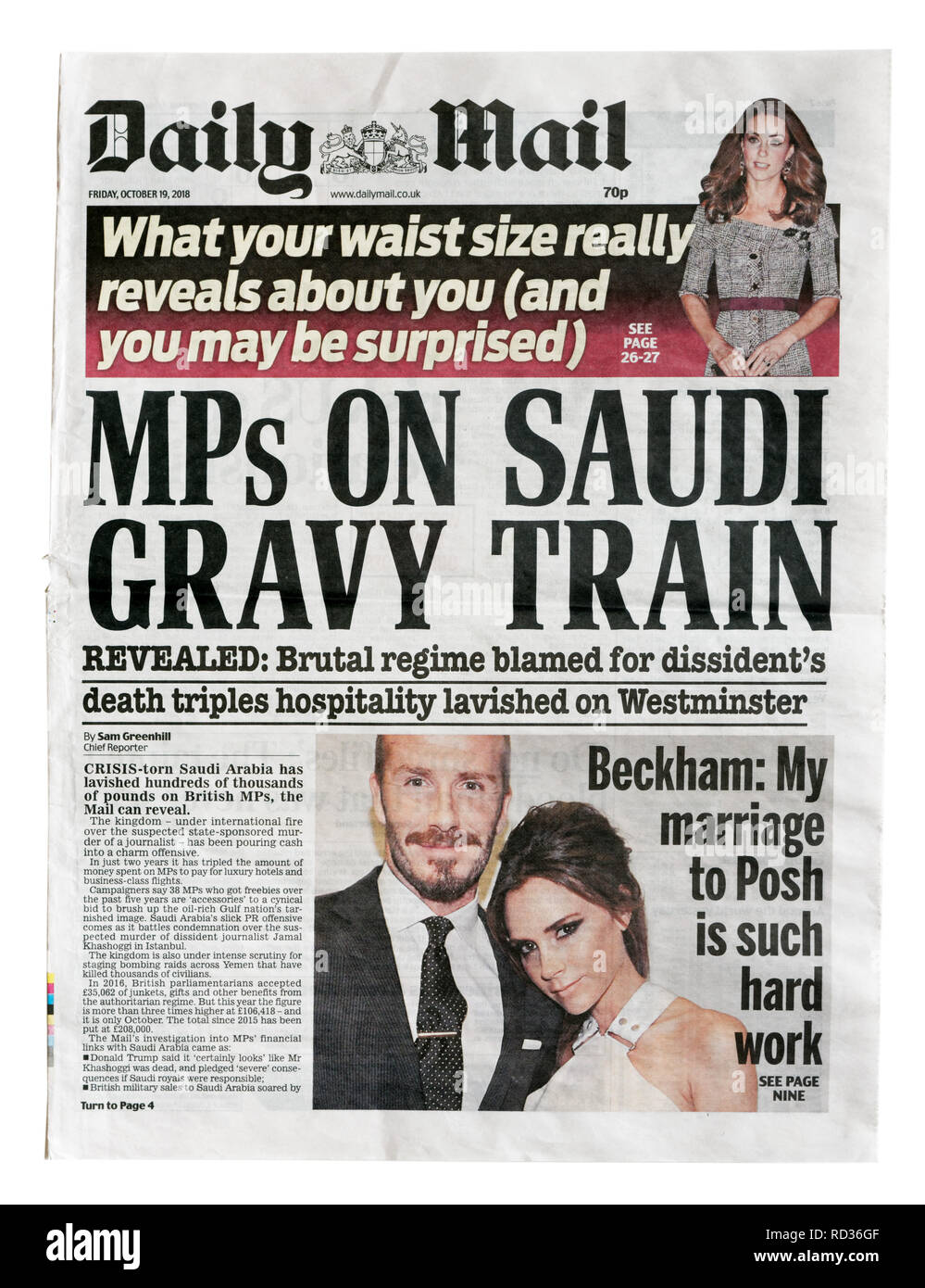 The front page of the Daily Mail from October 19 2018 with the headline MPs On Saudi Gravy Train, about MPs accepting Saudi hospitality and gifts. - Stock Image