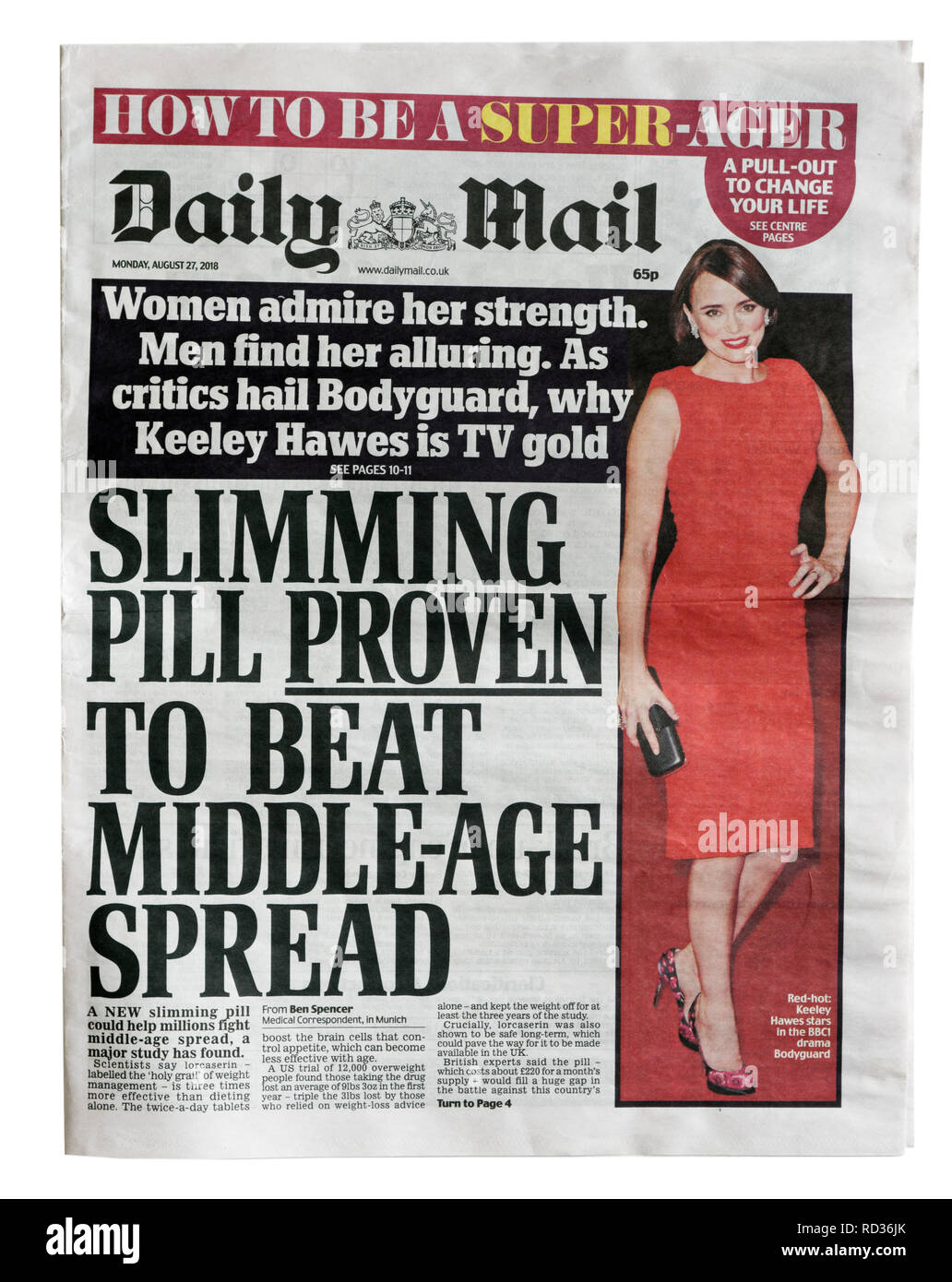 The front page of the Daily Mail from August 27 2018 with the headline Slimming Pill Proven To Beat Middle Age Spread - Stock Image