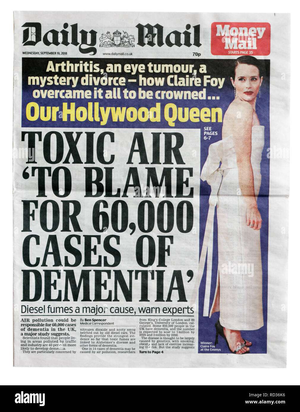 The front page of the Daily Mail from September 19 2108 about air pollution and diesel fumes being linked to demetia - Stock Image