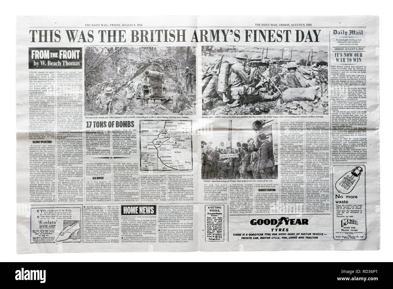 Middle pages of a reproduction Daily Mail from August 9 1918 with the headline This Was the British Army's Finest Day, an article by W Beach Thomas Stock Photo