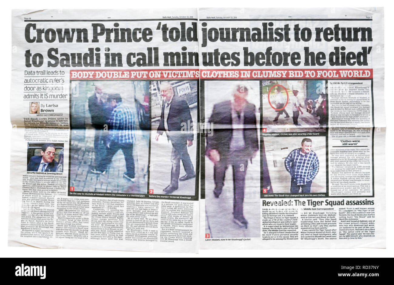 A double page of the Daily Mail from October 23 2018 with the story that Khashoggi was told to return to Saudi - Stock Image