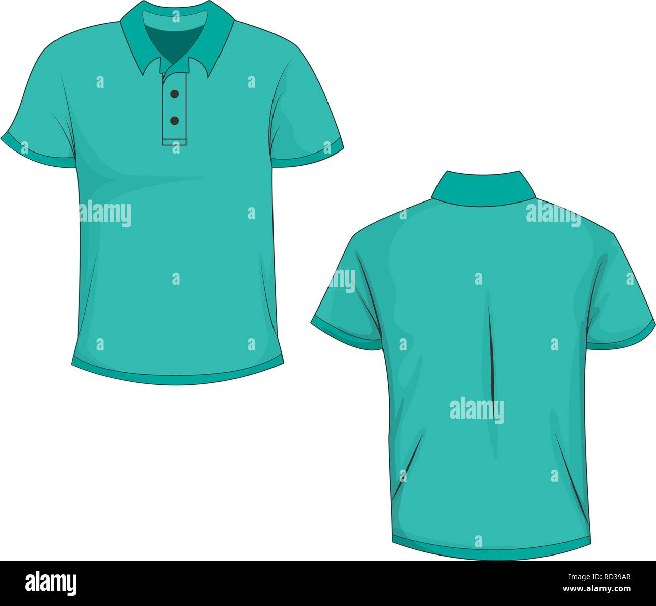 7c58944c6 Front and back view of turquoise polo (t-shirt). Isolated on white