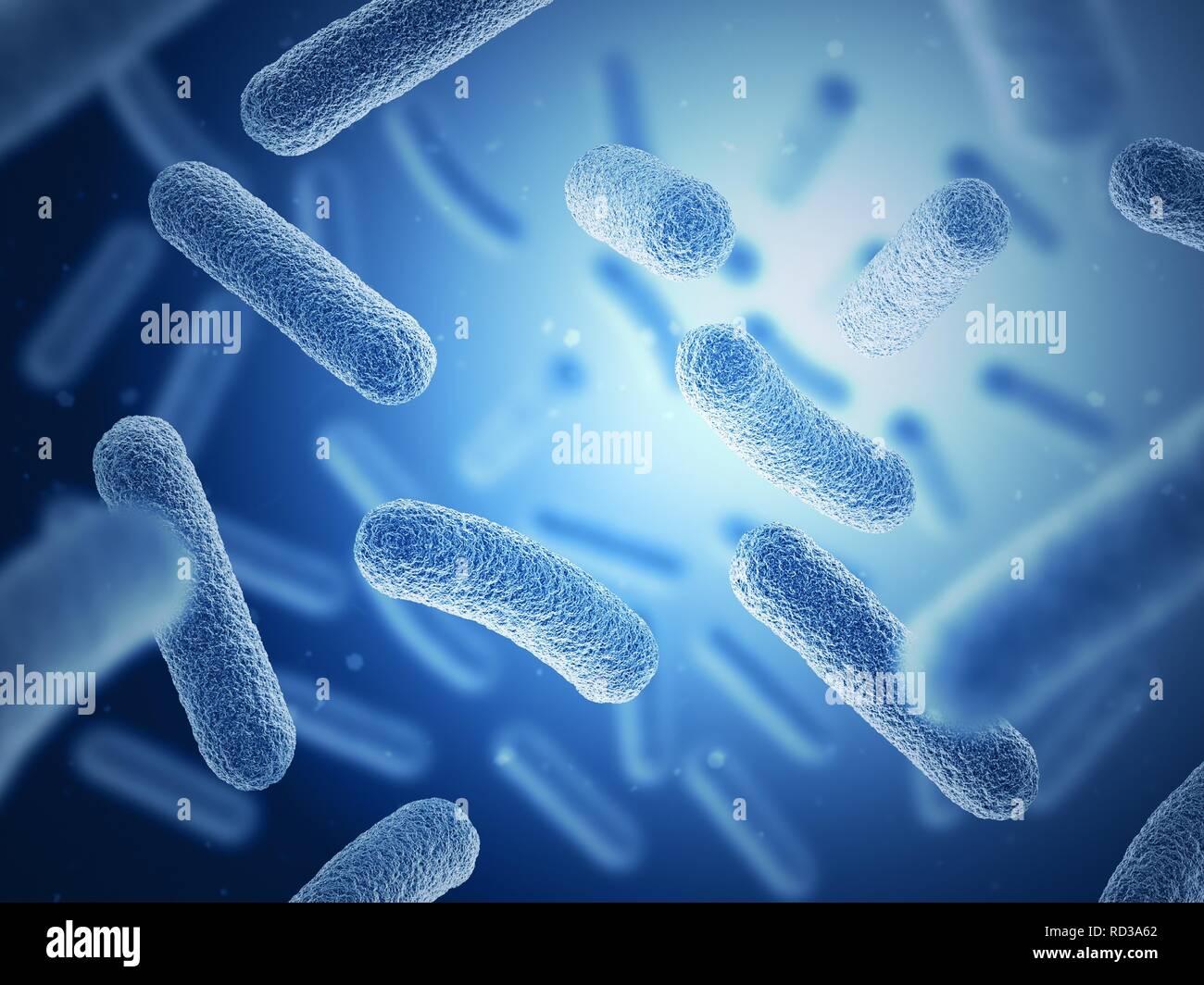Bacteria on blue background - Stock Image