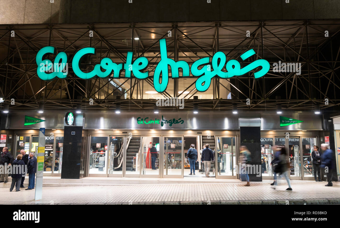 Entrance to the department store El Corte Inglés in Alicante, Spain, Europe - Stock Image