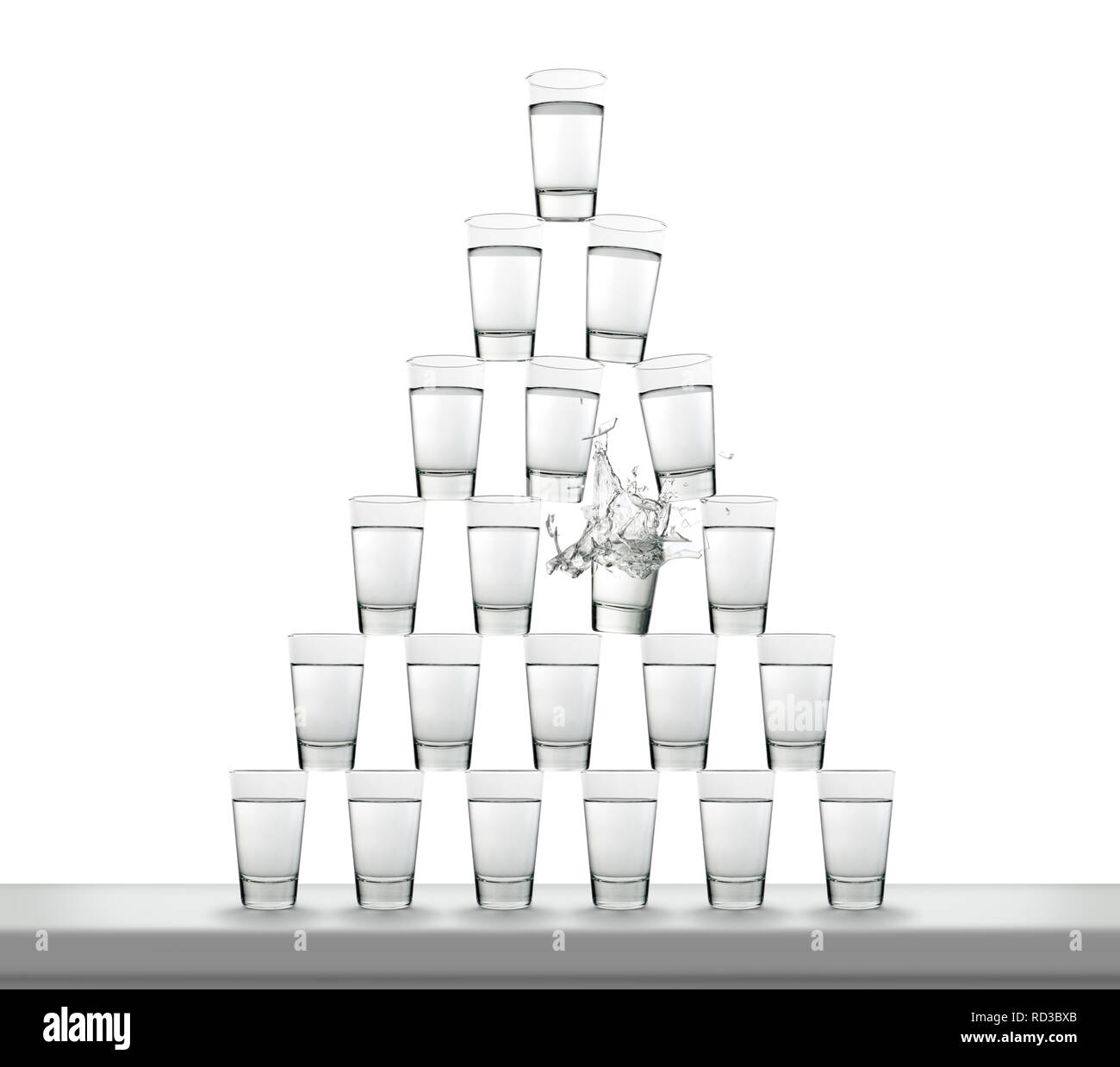 Stack of water filled glasses in pyramid shape with breaking glass - Stock Image