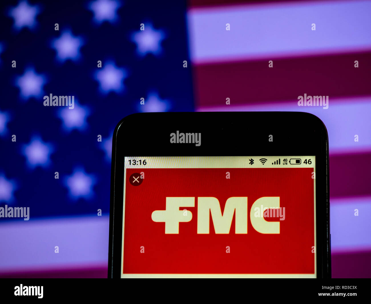 FMC Corporation Chemical manufacturing company logo seen displayed on smart phone - Stock Image