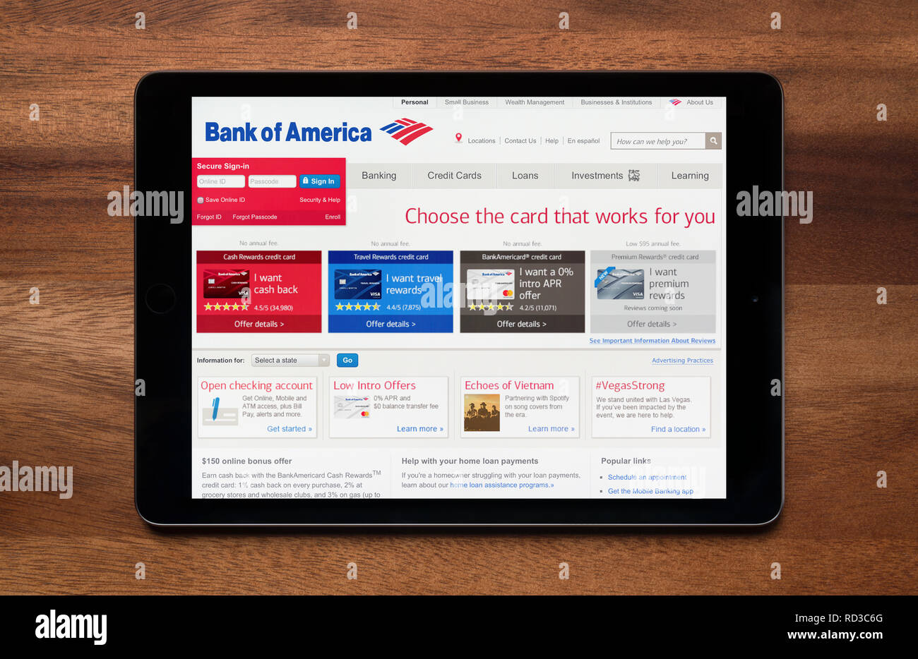 The website of Bank of America is seen on an iPad tablet