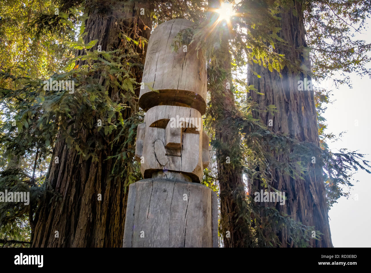 Chemamull wood statue of mapuche culture at Undurraga Vineyard -  Santiago, Chile - Stock Image