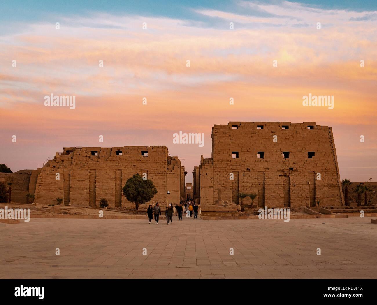 Karnak Temple facade at sunset in Luxor Egypt Stock Photo