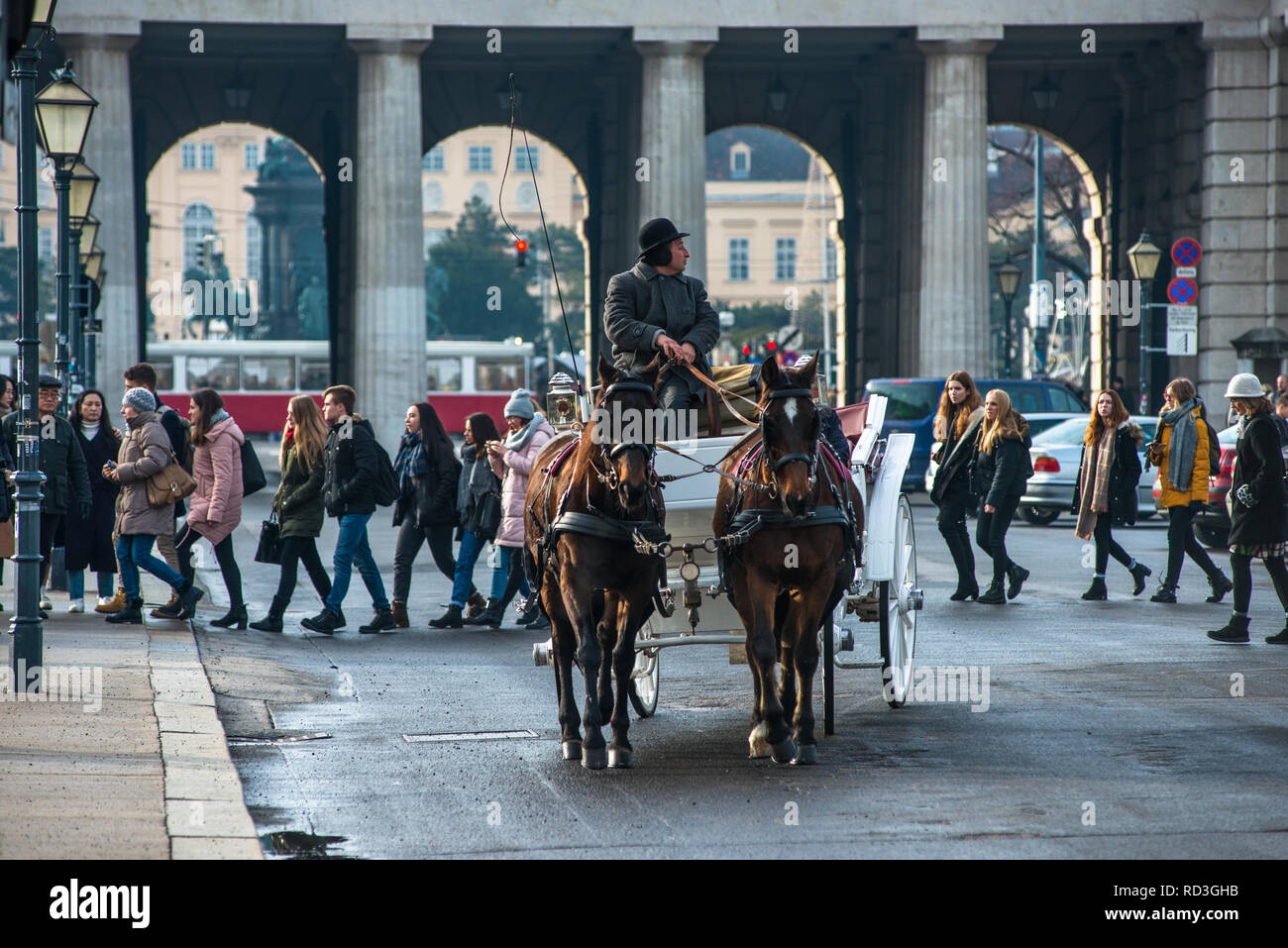 Vienna horse and carriage at Hofburg palace, Austria. Stock Photo