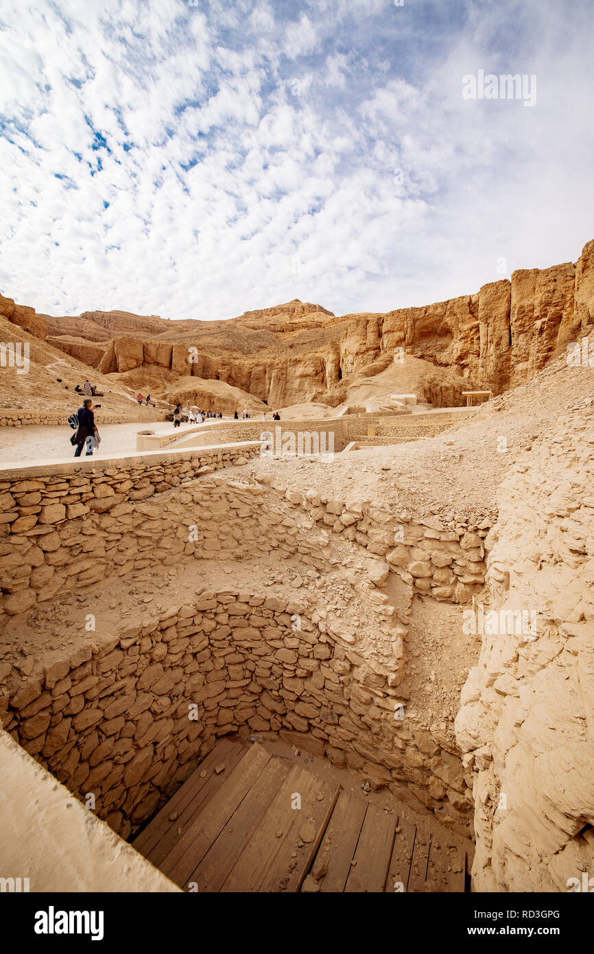 Valley of the Kings in Luxor Egypt tombs excavations - Stock Image
