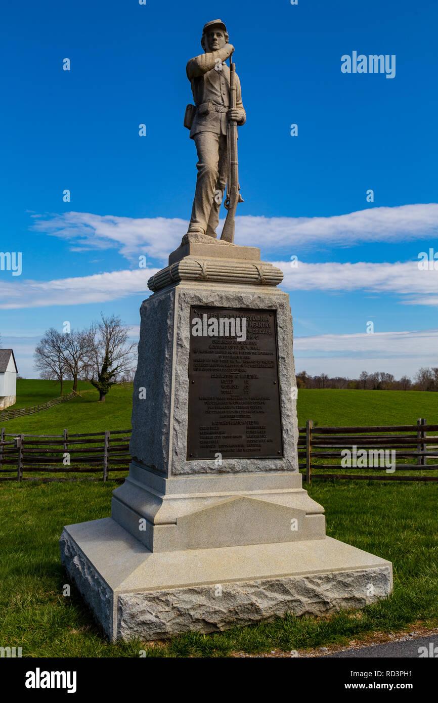 Sharpsburg, MD, USA - April 10, 2016: A monument of the 7th Regiment Pennsylvania Reserve Volunteer Infantry on the Antietam Battlefield. Stock Photo