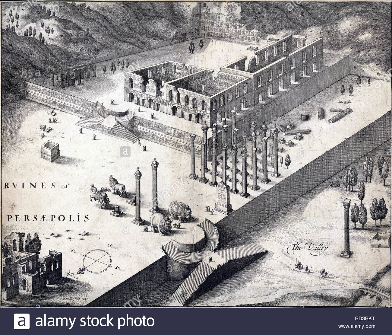 Persepolis, was the ceremonial capital of the Achaemenid Empire (ca. 550–330 BCE). It is situated 60 km northeast of the city of Shiraz in Fars Province, Iran. Etching by Bohemian etcher Wenceslaus Hollar from 1663 - Stock Image