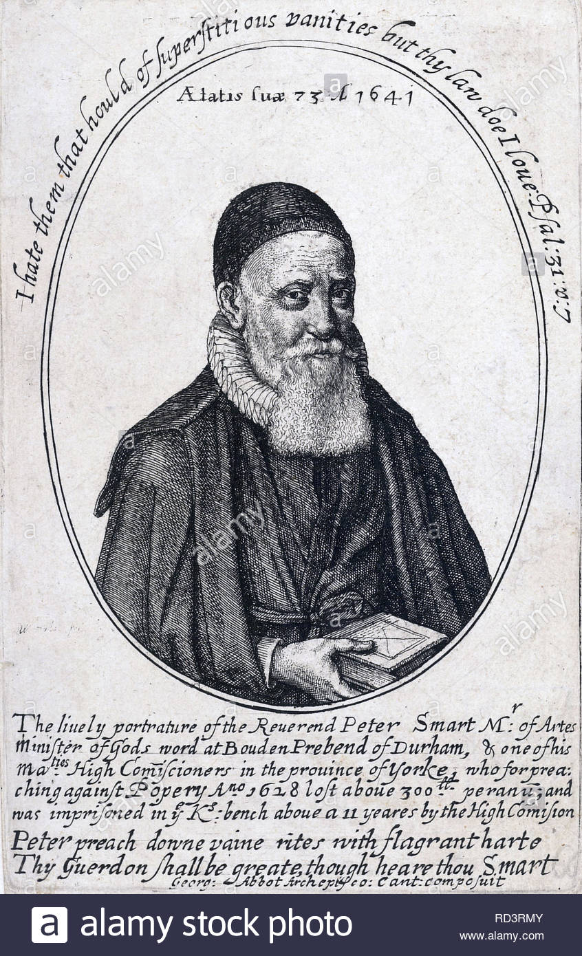 Peter Smart portrait, 1569 - 1652,  Prebendary of Durham, etching by Bohemian etcher Wenceslaus Hollar from 1600s - Stock Image