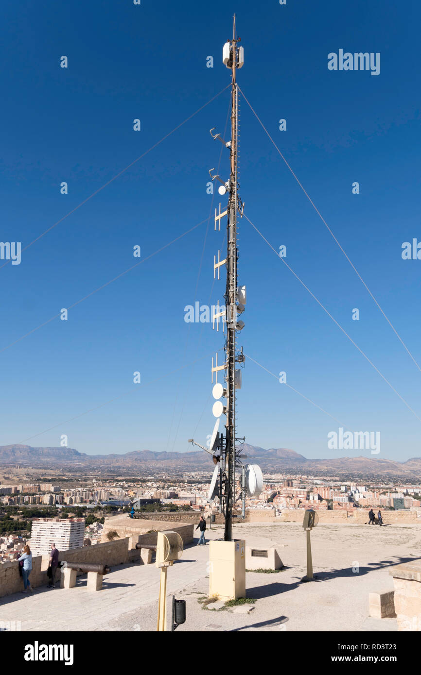 A telecommunications mast on top of the castle in Alicante, Spain, Europe - Stock Image