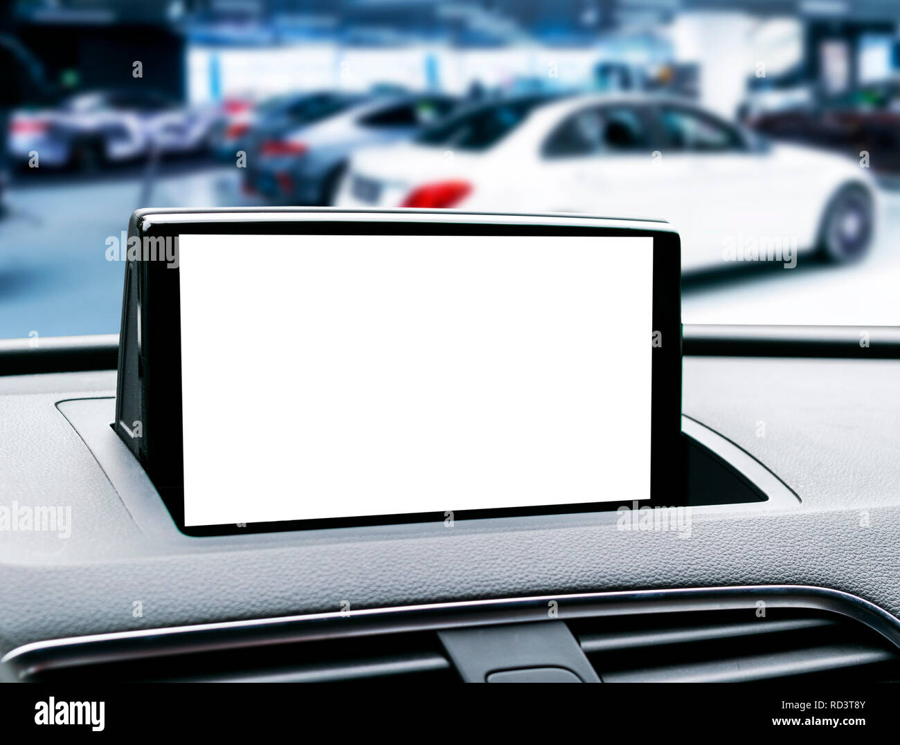 Monitor in car with isolated blank screen use for navigation maps and GPS. Isolated on white with clipping path. Car detailing. Modern car interior de Stock Photo