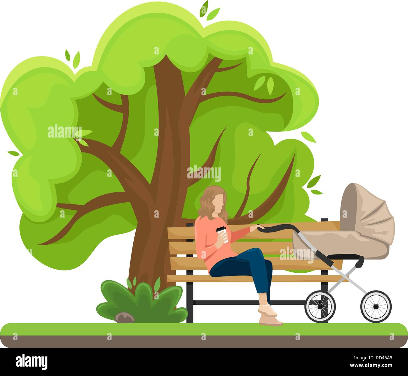 Young mother with a baby carriage sitting on a bench in the Park. Flat vector illustration. The girl with the paper Cup of coffee. - Stock Vector