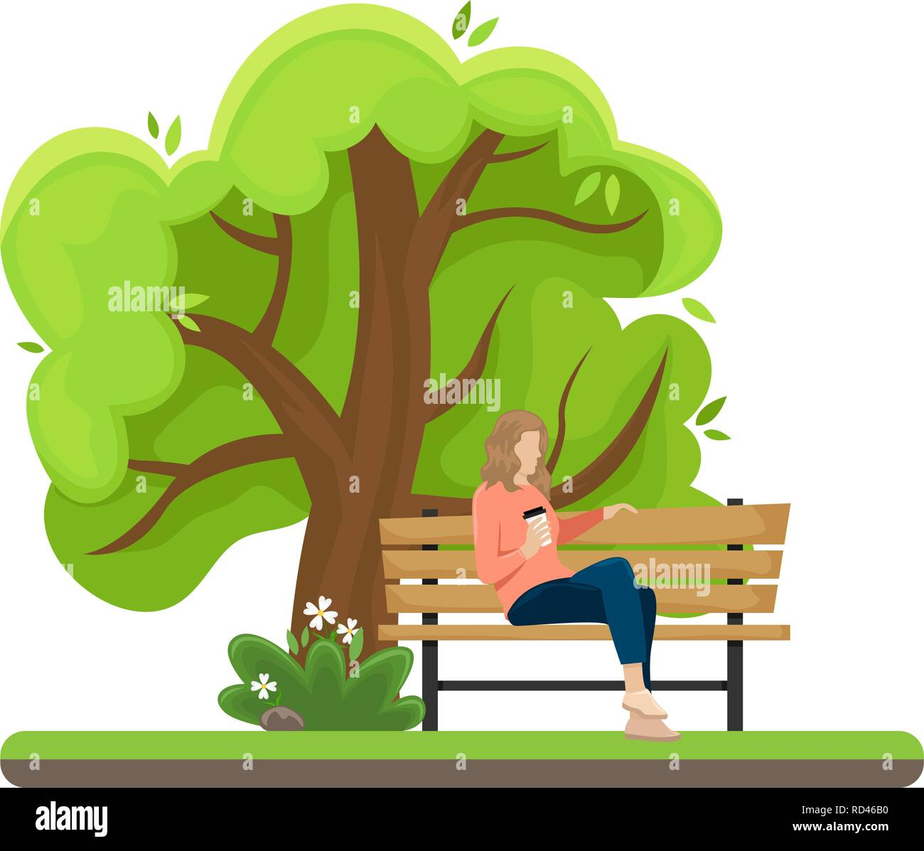 The girl with the paper Cup of coffee sitting on a bench in the Park. Flat vector illustration. - Stock Vector