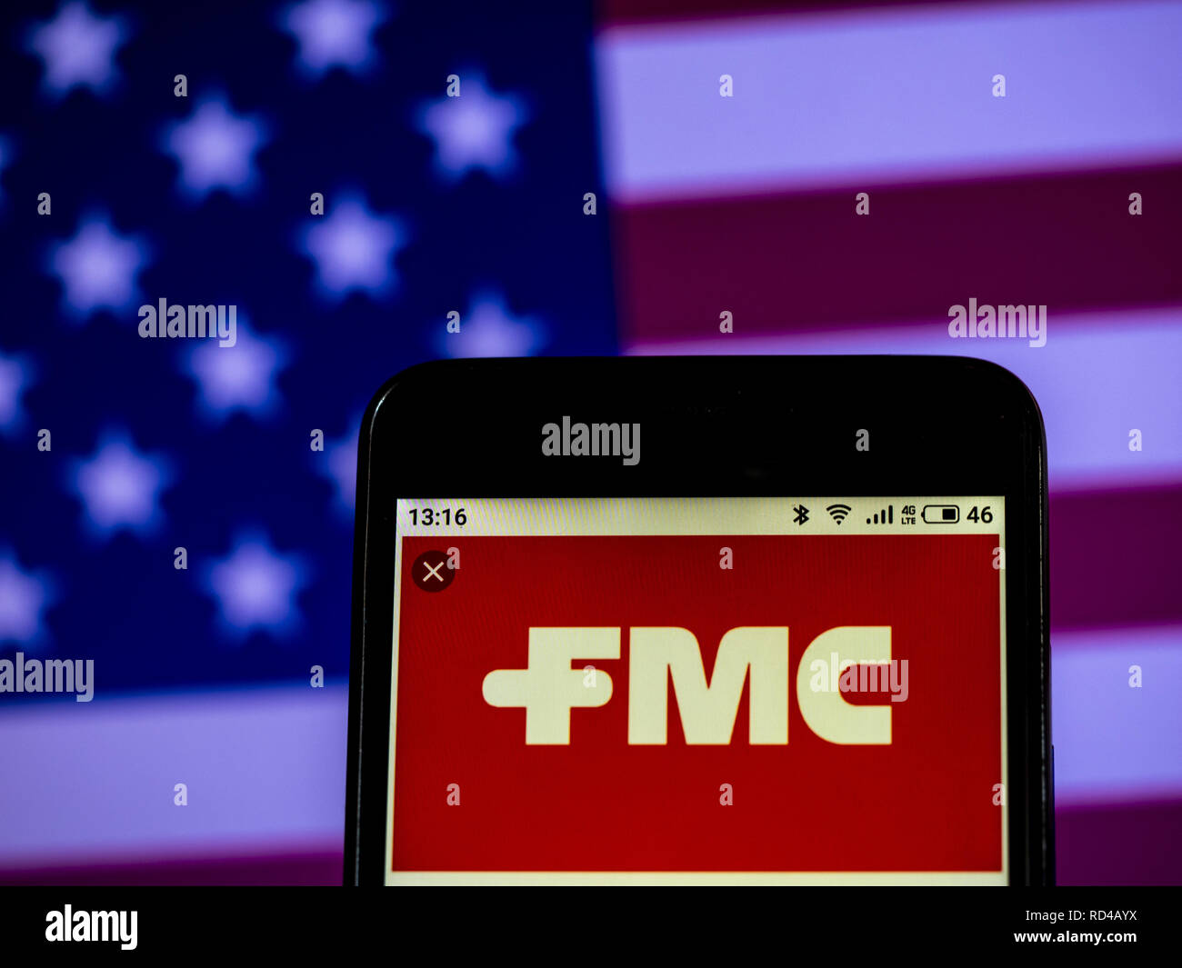 January 16, 2019 - Kiev, Ukraine - FMC Corporation Chemical manufacturing company logo seen displayed on a smart phone. (Credit Image: © Igor Golovniov/SOPA Images via ZUMA Wire) - Stock Image