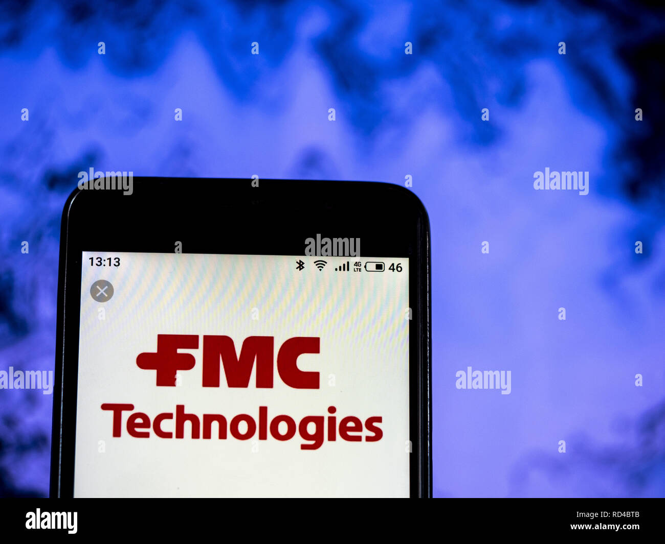 Kiev, Ukraine. 16th Jan, 2019. FMC Corporation Chemical manufacturing company logo seen displayed on a smart phone. Credit: Igor Golovniov/SOPA Images/ZUMA Wire/Alamy Live News - Stock Image