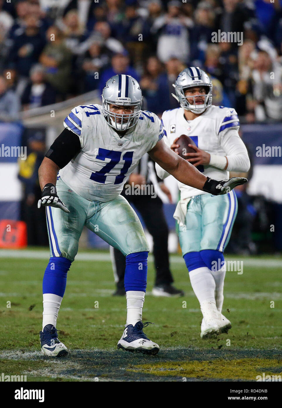 January 12, 2019 Dallas Cowboys offensive tackle La'el Collins #71 in action during the NFC Divisional Round playoff game between the Los Angeles Rams and the Dallas Cowboys at the Los Angeles Coliseum in Los Angeles, California. Charles Baus/CSM. Stock Photo