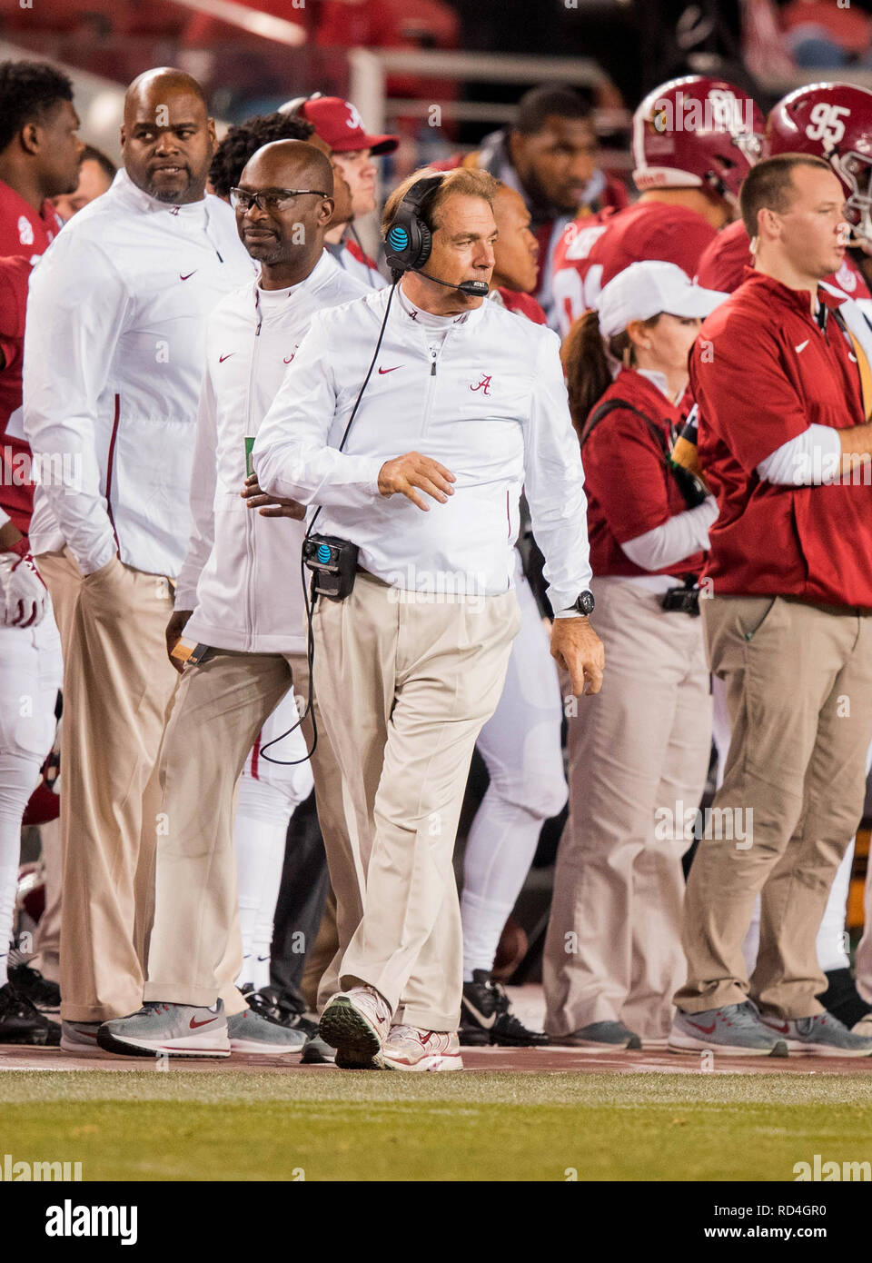 January 7, 201 Santa Clara, CA.Alabama head coach Nick Saban paces the sideline during the national championship game between the Alabama Crimson Tide and the Clemson Tigers at Levi Stadium on January 7, 2019. Clemson defeated Alabama 4416. (Absolute Complete Photographer & Company Credit: Juan Lainez/MarinMedia.org/Cal Sport Media (Network Television please contact your Sales Representative for Television usage.) (Television usage must over-burn ''MarinMedia'' on the top right corner of the screen to use on television) - Stock Image