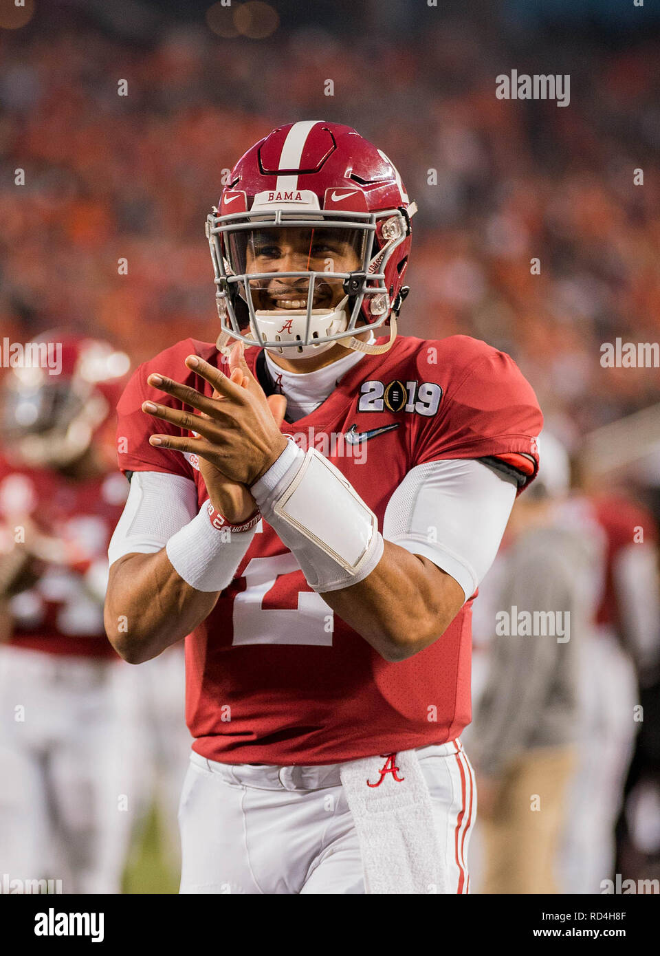 January 7, 201 Santa Clara, CA.Alabama quarterback (2) Jalen Hurts pumps himself up prior to the national championship game between the Alabama Crimson Tide and the Clemson Tigers at Levi Stadium on January 7, 2019. Clemson defeated Alabama 4416. (Absolute Complete Photographer & Company Credit: Juan Lainez/MarinMedia.org/Cal Sport Media (Network Television please contact your Sales Representative for Television usage.) (Television usage must over-burn ''MarinMedia'' on the top right corner of the screen to use on television) - Stock Image