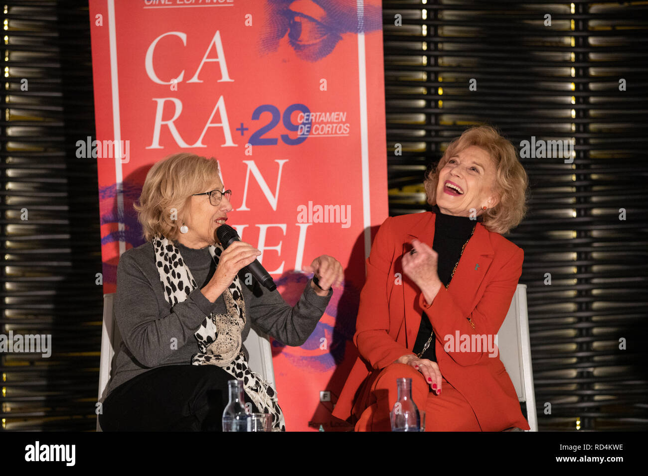 Madrid, Spain. 17th Jan 2019. Manuela Carmena speaking with Marisa Paredes during the act. The Carabanchel Film Week has become one of the longest-running exhibitions in Madrid and has made it consolidate as the prelude to the Goya Awards. Credit: Jesús Hellin/Alamy Live News - Stock Image