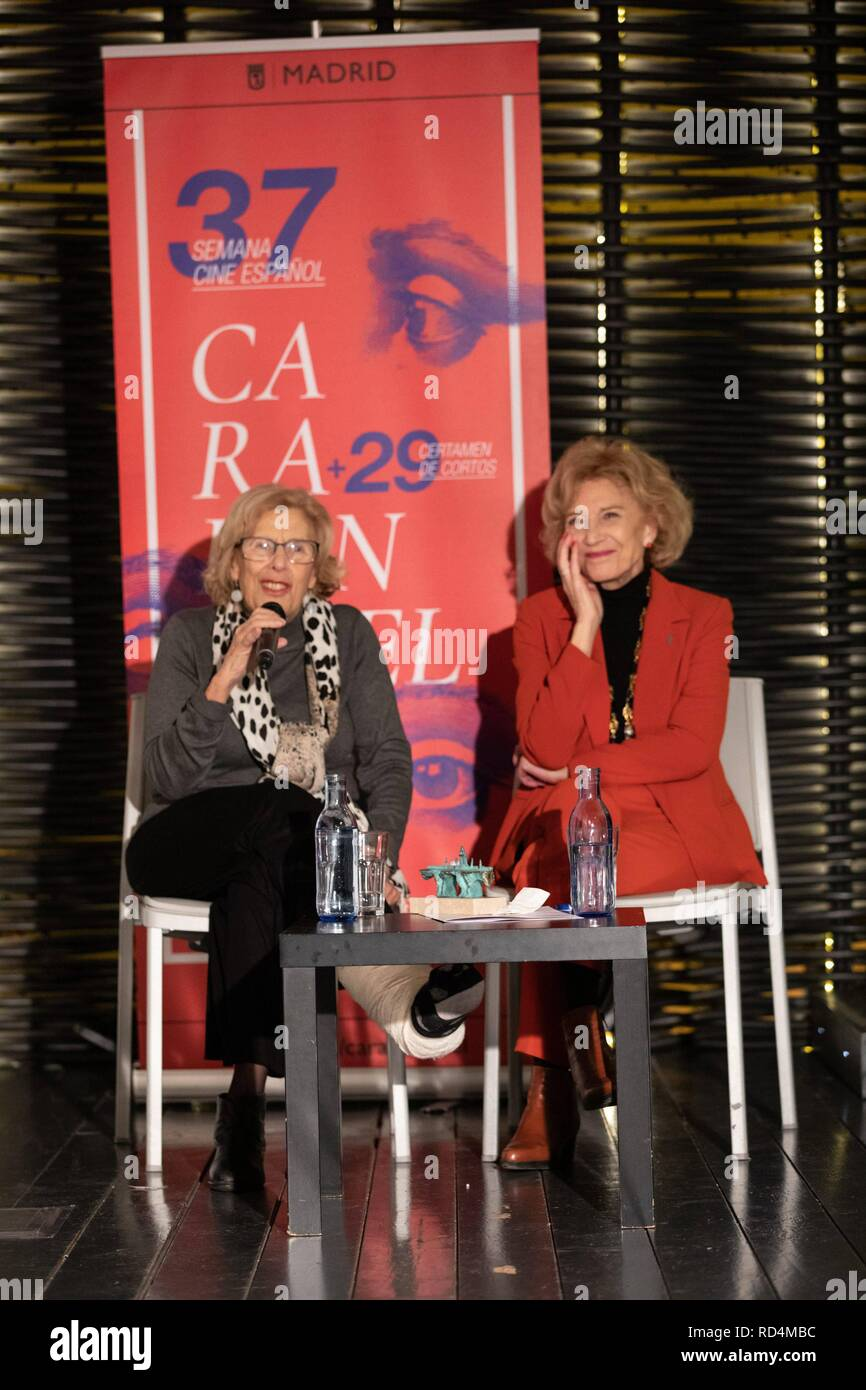 Manuela Carmena speaking with Marisa Paredes during the act and receiving the award. The Carabanchel Film Week has become one of the longest-running exhibitions in Madrid and has made it consolidate as the prelude to the Goya Awards.  Cordon Press - Stock Image