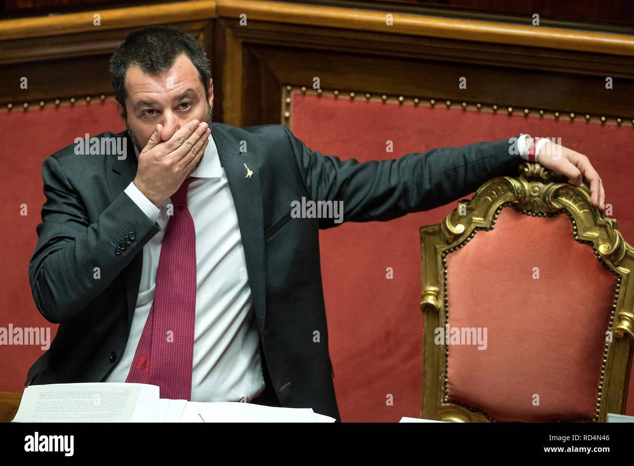 Foto Roberto Monaldo / LaPresse 17-01-2019 Roma Politica Senato - Question time  Nella foto Matteo Salvini  Photo Roberto Monaldo / LaPresse 17-01-2019 Rome (Italy) Senate - Question time  In the photo Matteo Salvini - Stock Image