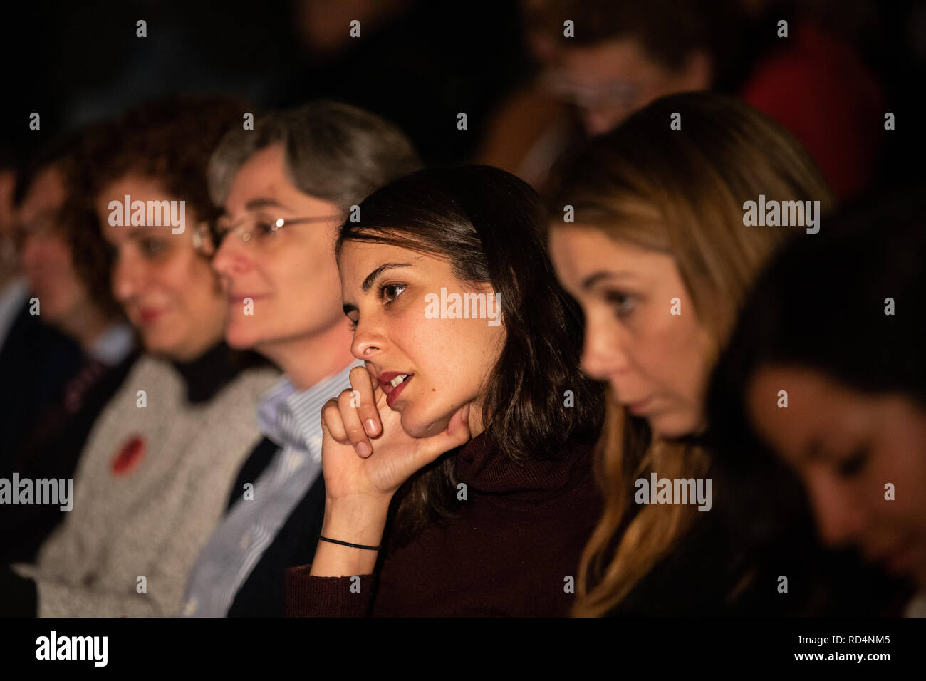 Madrid, Spain. 17th Jan, 2019. Rita Maestre, councilor of the Madrid City Council seen during the event.The Carabanchel Film Week has become one of the longest-running exhibitions in Madrid and has made it consolidate as the prelude to the Goya Awards. Credit: Jesus Hellin/SOPA Images/ZUMA Wire/Alamy Live News - Stock Image