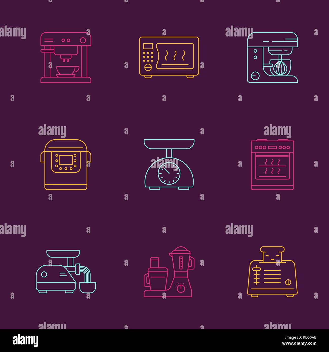 Kitchen utensils and household appliances linear icons - Stock Vector