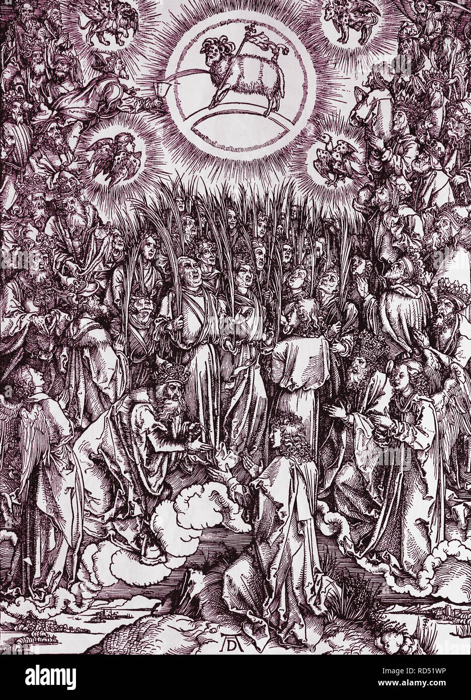 The hymn in adoration of the lamb. Apocalypse. Woodcut by Albrecht Durer. 1498. - Stock Image