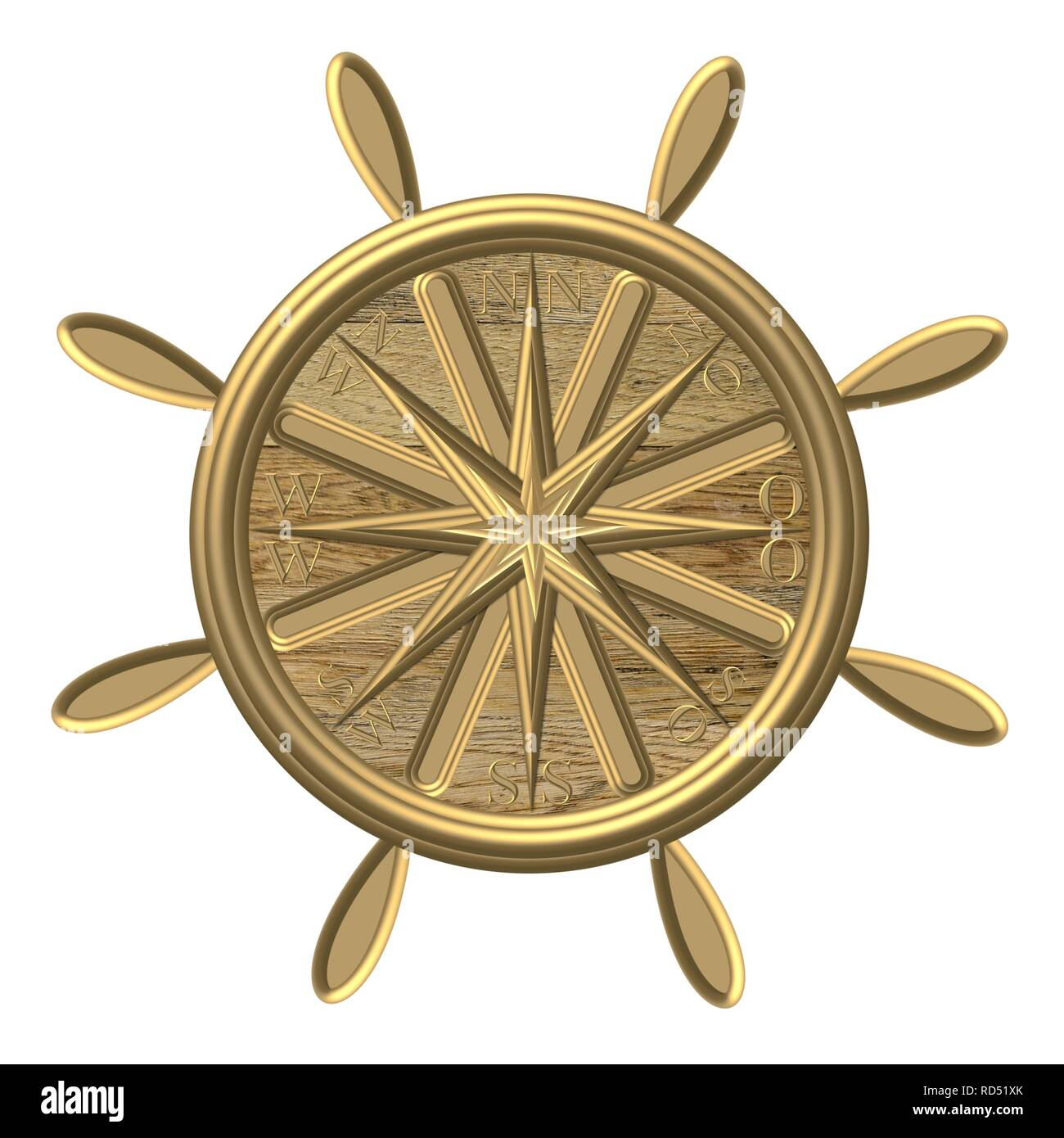Goldener Kompass – Windrose - Steuerrad - Stock Image